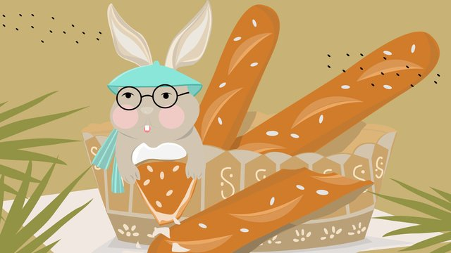 Cute pet rabbit and french loaf love, Rabbit, Bread, Animal illustration image