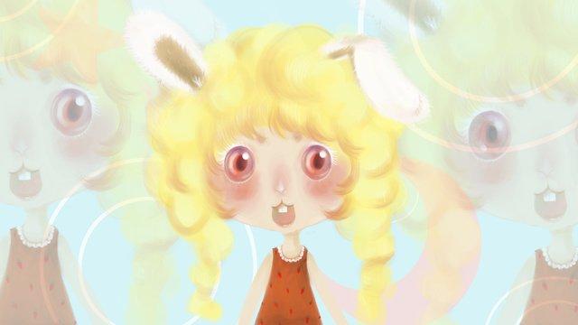 Fresh cartoon cute loli rabbit sister illustration, Rabbit, Loli, Lovely illustration image