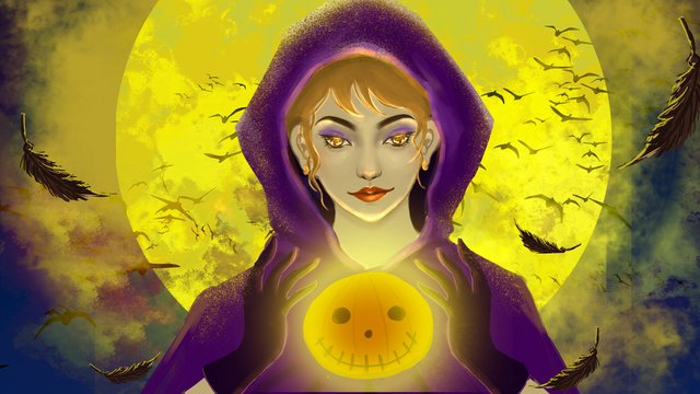 Realistic game cg wind witch holding a pumpkin lantern under halloween, Realistic, Game Cg Wind, Halloween illustration image