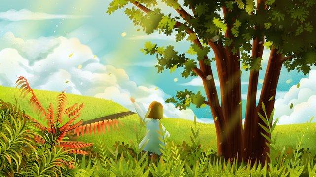 Оригинальные рисованной иллюстрации реалистичный пейзаж газон Ресурсы иллюстрации Иллюстрация изображения