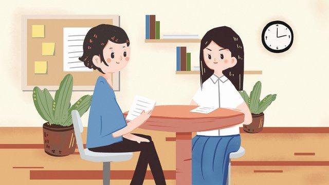 採用面接事務事務秋の採用事務募集  インタビュー  ビジネス PNGおよびPSD illustration image