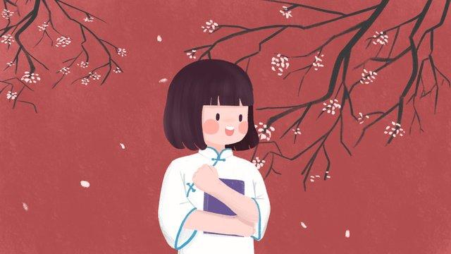Red wall background republic of china girl cartoon cute illustration, Red Wall, Petal Rain, Republic Of China illustration image