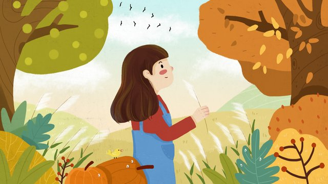 차가운 이슬 가을 소녀 갈대 자연 경관 삽화 소재 삽화 이미지