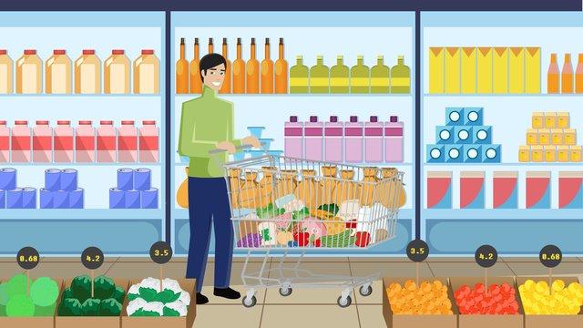 단순한 평면 스타일의 슈퍼마켓 쇼핑 장면 삽화 소재 삽화 이미지
