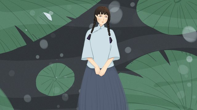 Republic of china girl student summer night and lotus, Republic Girl, Student Wear, Summer Night illustration image