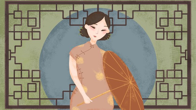 Simple atmosphere chinese style retro texture elegant cheongsam woman illustration llustration image illustration image