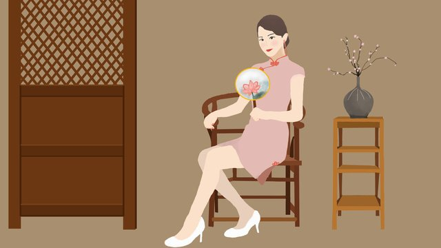 a woman who wears cheongsam in the republic of china llustration image