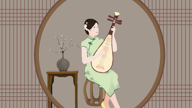 republic of china style cheongsam playing the piano woman llustration image