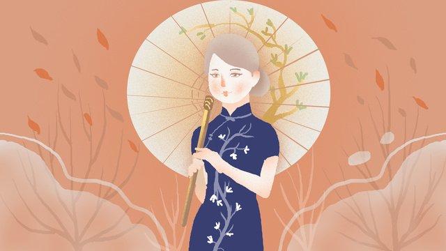 republic of china style cheongsam woman illustration llustration image