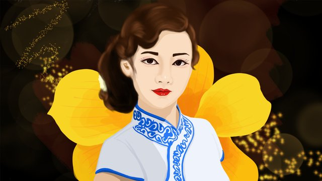 beautiful and elegant young woman in the cheongsam dress favorite orchid republic of china llustration image illustration image