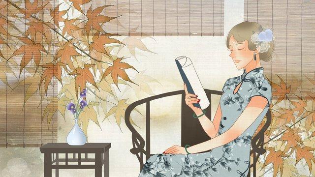 republic of china wind vintage texture wearing cheongsam reading book woman llustration image illustration image