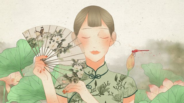 Cheongsam woman holding a folding fan in front of the wind lotus pond republic china, Republic Of China, Classical, Retro illustration image