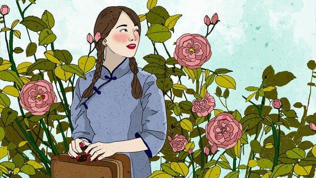 元の中華女子学生が花の前で新鮮なイラストを待っています中華民国  女子学生  花 PNGおよびPSD illustration image