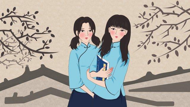 Republic of china jiangnan female student original illustration llustration image