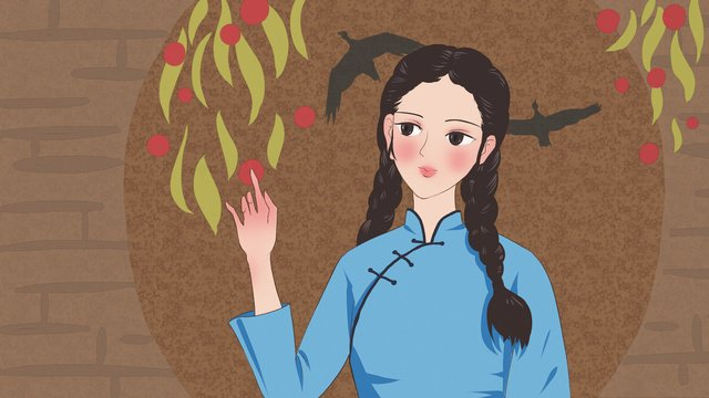 Original illustration of a female student who has handed red fruit to the republic china, Republic Of China, Leaf, Red Fruit illustration image