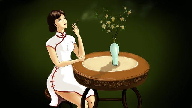 republic of china cheongsam women llustration image illustration image
