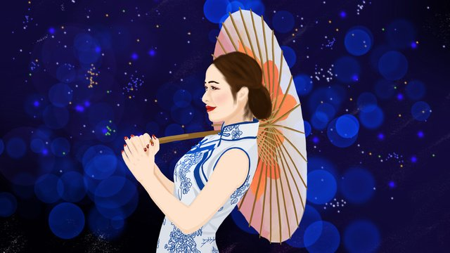 young women in cheongsam dresses with oil paper umbrellas the republic of china llustration image illustration image