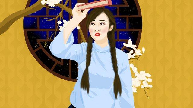 中華民国では、ナシの木の下の純粋な学生少女はシンプルで新鮮でした。中華民国  中華民国の服  中華学生衣装 PNGおよびPSD illustration image