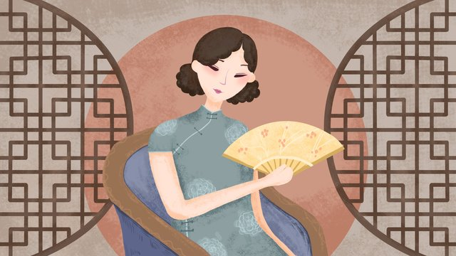 Simple retro texture elegant cheongsam woman illustration llustration image illustration image