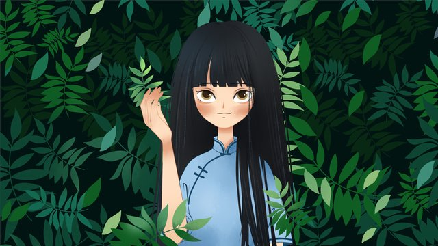 Simple and fresh green republic student dress girl illustration, Republic Of China, Student, Girl illustration image