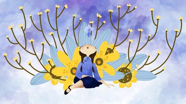 中華民国の学生の小さな新鮮な治療法の図中華民国  学生  少女 PNGおよびPSD illustration image