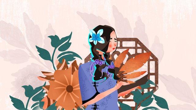 中華民国スタイルの学生ドレスイラスト中華民国  学生服  レトロ PNGおよびPSD illustration image