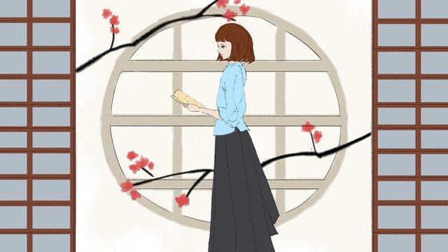 Republic of china student literary girl llustration image