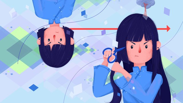 flat abstract emotion republic of china student girl llustration image