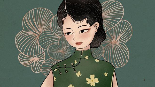 Republic of china wind girl cheongsam retro business illustration llustration image illustration image