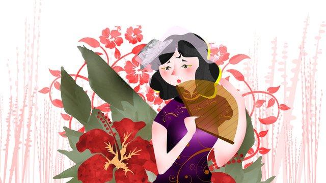 République de chine femme illustration caractère cheongsam rétroRépublique  De  Chine PNG Et PSD illustration image