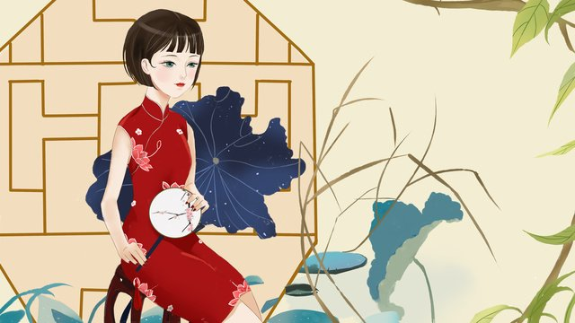 republic of china style cheongsam woman retro small fresh illustration llustration image illustration image
