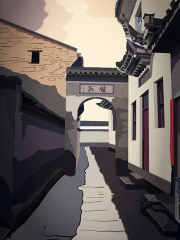Retro realistic illustration of the huipai building in jiangnan water town alley llustration image