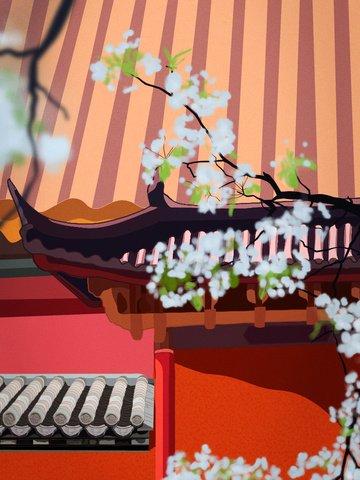 retro realistic illustration of the ancient corner forbidden city llustration image