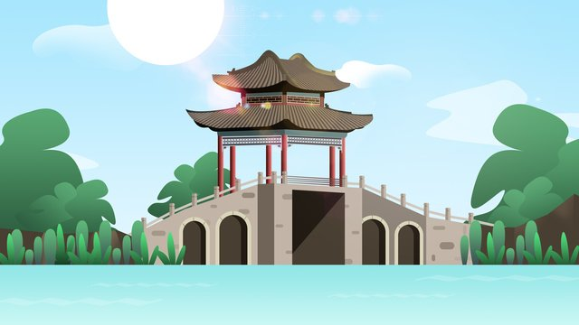 Retro architecture ancient bridge pavilion llustration image illustration image
