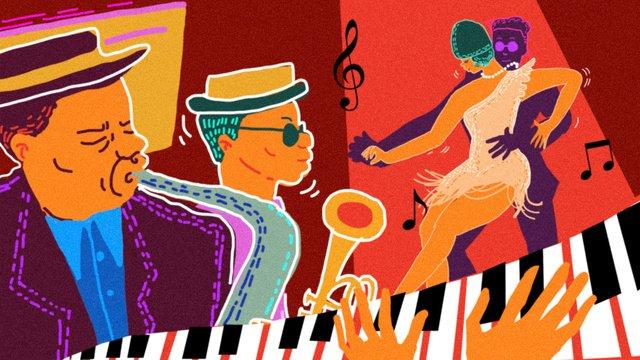 festival muzik kontras retro jazz black dance imej keterlaluan imej ilustrasi