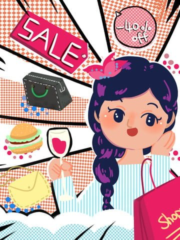 Retro double eleven twelve shopping taobao carnival goods acheter panierRétro  Double  Onze PNG Et PSD illustration image