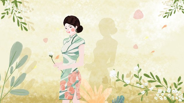 Original vintage illustration of a woman wearing cheongsam, Retro, Illustration, Republic Of China illustration image