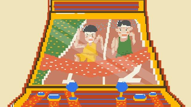 레트로 픽셀 바람 아시아 게임 콘솔 손으로 그린 그림 삽화 소재