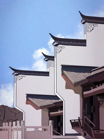 Retro realistic illustration of antique plaque building in jiangnan water town llustration image