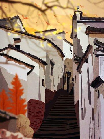 retro realistic illustration of huizhou architectural folk alley llustration image