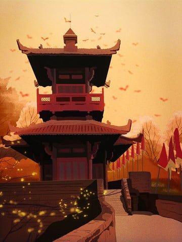 chucheng 풍경과 관광 명소의 역사 사이트의 복고풍 현실적인 그림 삽화 소재 삽화 이미지
