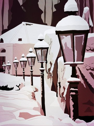Retro realistic illustration of the british snow scene llustration image