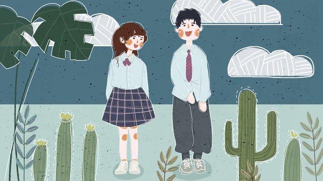 Retro texture boy girl september season illustration, Retro Texture, Boy, Girl illustration image