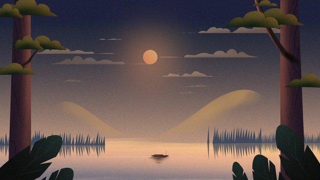 レトロな風合いの癒しシステム中秋節湖畔の夜おやすみこんにちはイラスト イラスト素材