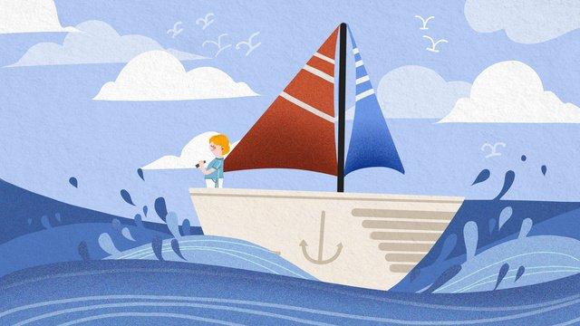 retro texture flat wind boy nautical illustration llustration image illustration image