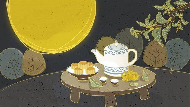 レトロな質感のお茶鑑賞月中秋節イラスト イラスト素材 イラスト画像