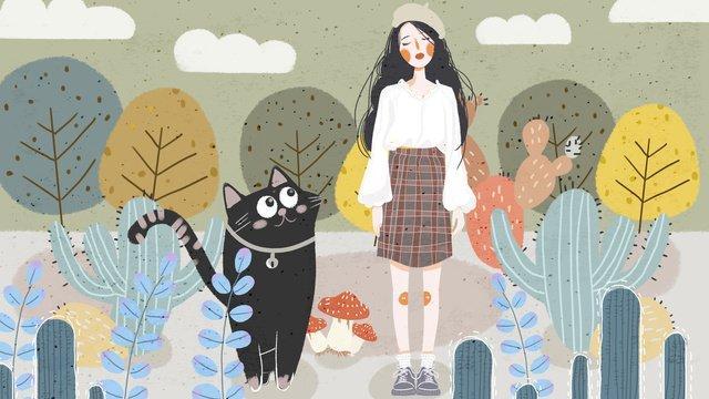 レトロテクスチャ植物の女の子かわいいペットシリーズイラスト イラスト素材 イラスト画像