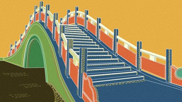 レトロな質感のシングルホールアーチブリッジ中国の建築図 イラスト素材 イラスト画像
