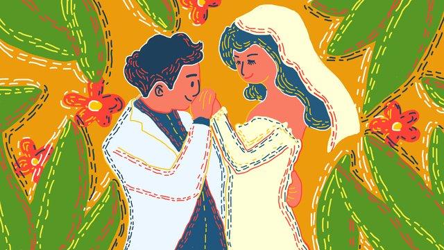 original illustration retro texture beautiful romantic wedding photos llustration image
