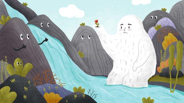 山物記流淌的河流 插畫素材